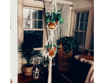 Hanging Macrame Plant Hanger (Two Tier) Wall Hanging, Wall Decor