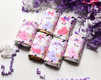 54 Girl Fox Baby Shower, Pink Fox Candy Wrappers for Hershey Miniatures, Fox Theme Party Favor, Fox 1st Birthday, Fox Party Supplies