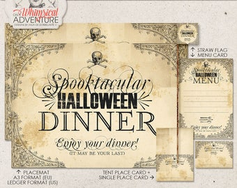 Halloween Event, Printable Dinner Party Decor, Gothic Style, Instant Download, Digital Collage Sheet, Menu, Place Card, Placemat, Straw Flag