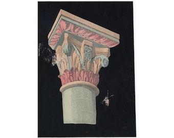 c. 1866 ANTIQUE CAPITAL ARCHITECTURE lithograph - rare & unusual hand colored original antique print - decorative details of composite order