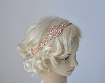 Long Rose Gold Bridal Headband Crystal Pearls Rhinestone Wedding Headband Headpiece Bridal Flapper 1920s Great Gatsby Headband Headpiece