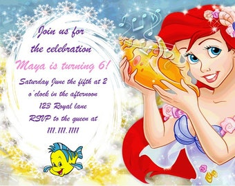 DIY Disney The Little Mermaid Ariel Birthday Invitation Digital Download 4x6 and 5x7
