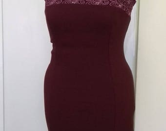 Elegant dress in burgundy -byustie, the fabric is cotton textile