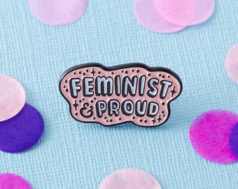 BACK IN STOCK! // Feminist & Proud Enamel Pin with clutch back // lapel pins, feminism // EP055