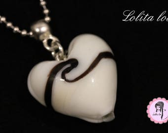 Necklace pendant Murano glass 'whipped cream and thin licorice heart '.