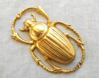 1 raw brass stamping, extra large Victorian beetle, scarab, bug pendant, charm, connector, ornament, 55mm x 34mm, made in the USA C54101