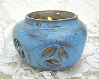 Blue Ceramic Handcrafted Candle Holder & Candle in Glass Holder