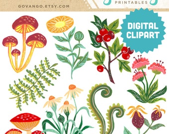 FOREST FLORA Digital Clipart Instant Download Flowers Daisy Mushroom Fern Gouache Painting Illustration Artwork Printable Collage