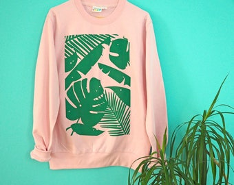 Plants Pink Jumper, Baby Pink Sweater, Cute Screenprinted Jumper, Plant Sweater, Cheese Plant Sweater, Monstera Leaves Print,Fun Pink Jumper