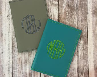 Passport Holder Signet monogram - passport case travel gift men - faux leather passport cover - custom passport holder - gift for him