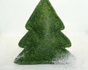 Catnip Cat Toy Pillow, Green Christmas Tree, Wool Felt