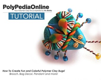 Polymer Clay Tutorial, Polymer Clay Brooch, Boutonniere, DIY, Polymer Clay Jewelry, Fimo, Beads Tutorial, Polymer Clay Decoration, Pin, Bug