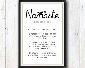 Yoga Namaste art print/ Yoga studio decor
