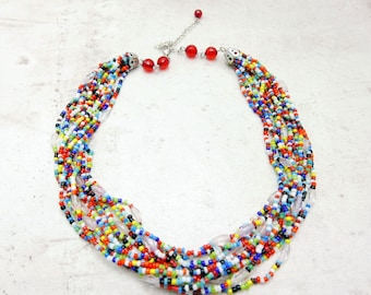 Rainbow necklace, Multi-Color Tiny Seed Bead Necklace, Boho necklace, Boho jewelry,