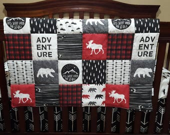 Woodland Moose Patchwork Style Baby Blanket or Quilted Comforter- Bear, Pine tree, Moose, Lodge, Check, Plaid, Mountain, Stars, Woodland