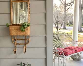 Bohemian Rattan Wall Planter with Mirror and Hooks. Vintage Wall Unit.