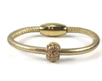 Gold Leather Bangle, Womens Leather Bracelet, Leather Bangle Bracelet, Gold Bracelet, Leather Jewelry, Womens Bracelet, Gold Bracelet
