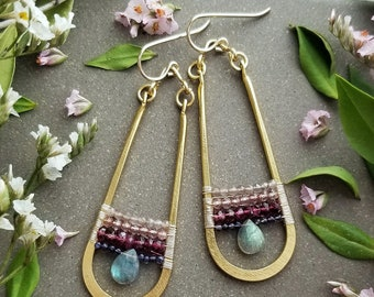 Beaded Labradorite Teardrop Earrings in Gold > Labradorite, Pink Topaz, Tourmaline, and Iolite Gems - Gemstone Jewelry, Boho Luxe