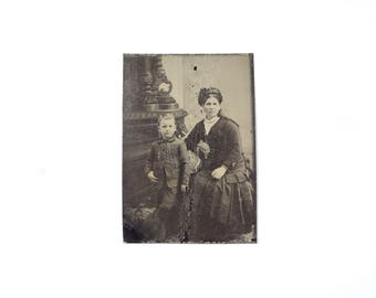 Vintage Tintype Photo of Mother and Child / Victorian Era Mother and Son Tintype Photograph
