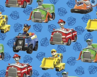 Paw Patrol Fabric  Rescue Cars From David Textiles 100% Cotton