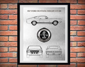 1967 Ford Mustang Shelby GT-500 - Sports Car Poster - 60's Muscle Car Enthusiast - Mechanic Gift - Man Cave Decor