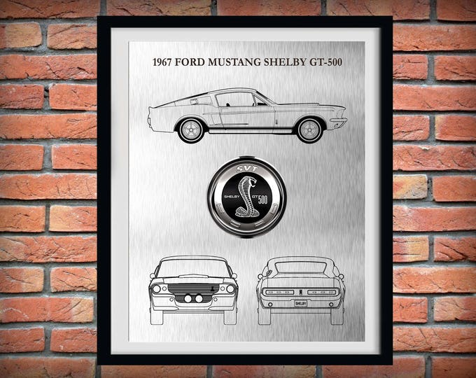 Featured listing image: 1967 Ford Mustang Shelby GT-500 - Sports Car Poster - 60's Muscle Car Enthusiast - Mechanic Gift - Man Cave Decor - Car Illustration