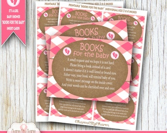 It's A Girl, Bring a Book Instead of a Card Invitation Inserts, Baby Girl Shower Invitations, Pink Chevron/Brown Paper, Shower Book Cards