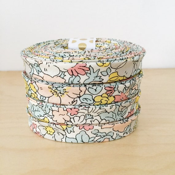 """Bias Tape- Liberty of London The Cottage Garden Cosmos Pastel 1/2"""" double-fold binding- floral- 3 yard roll"""