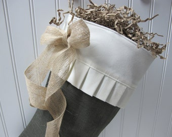 Green burlap Christmas Stocking with pleated cuff and bow