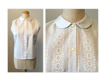 Vintage 60s Gingham Shell Blouse S Embroidered Eyelets and Peter Pan Collar NOS