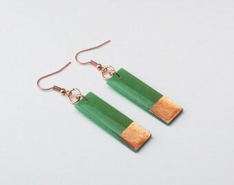 Long Jade Green Bar Earrings, Copper foil Green Earrings, Modern Minimal Jewelry, Nickel Free Bright Green Earrings, Christmas Earrings