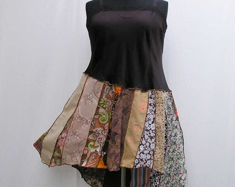 Brown upcycled dress, plus size dress, brown dress, refashioned dress, 2X deconstructed dress, boho dress festival dress, asymmetrical dress