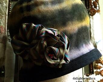 Black Cloche Hat Featuring Butterscotch Shibori Rings_Striped Silk Flower Detail