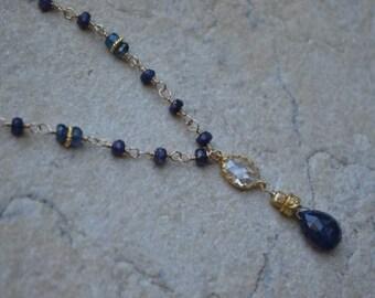 Saphire Gold Filled Necklace Crystal Center September Birthstone