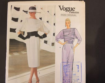 Vogue Paris Original Pattern, 1404 Christian Dior Evening Dress Dramatic Front Tucks Long Dolman Sleeve Size 14, uncut, factory folded