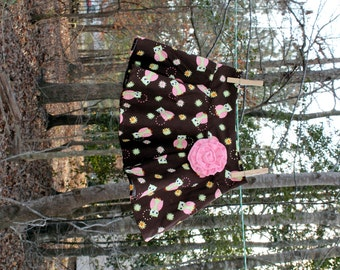 Owl Skirt with Pink Flower - Size 4T - SALE