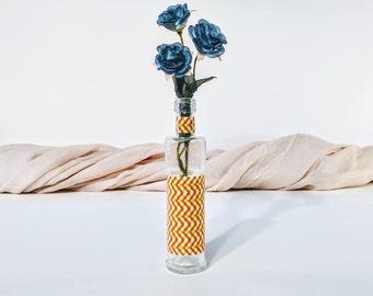 Chevron bud vase/ Chevron vase/ Bud vase/ Glass bud vase/ Orange chevron vase/ Lime green chevron vase/ Textured vase/ Washi tape vase