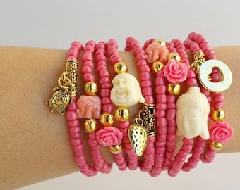 White buddha - Pink Elephant - Bracelet Set - bracelets stacking - stretch bracelet - for Stacking - coachella festival - bohemian boho