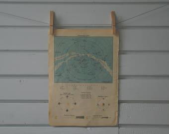1939 Vintage Northern Hemisphere Celestial Map