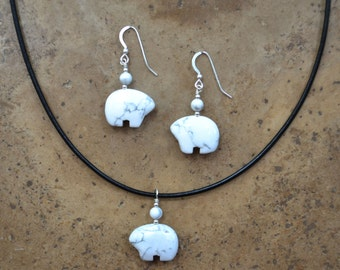 Zuni Fetish style White Howlite Bear Earrings & Necklace SET, beaded with Sterling Silver