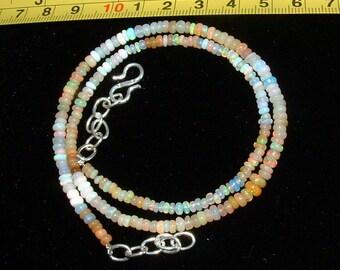 Ethiopian Welo Opal Necklace! Multi Opals! Artistic, Colorful~Adjustable Length. 100%  Earthmined.