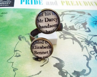 Pride and Prejudice Dual Bezel Adjustable Ring Jane Austen Darcy Elizabeth