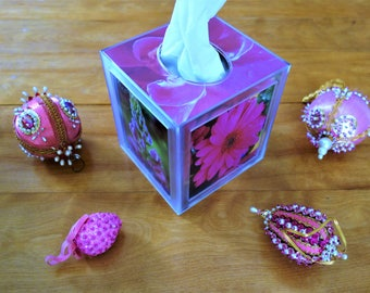 Flower  Photo Tissue Box Cover (Pink)