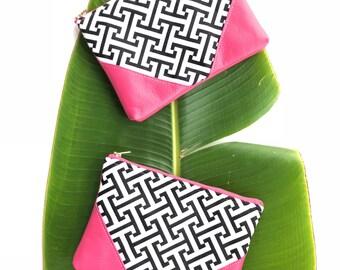 Black and White Zipper Clutch, Hot Pink Leather Clutch, Greek Key Clutch, Resort Style Clutch, Wedding Clutch, Color Block Leather Clutch