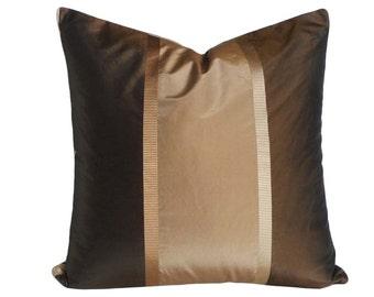 Brown Gold Copper Pillow, Brown Striped Pillow, Metallic Pillows, Dark Brown Pillow Cover, Luxury Silk Pillow, 14x20, 16x20
