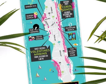 Custom MAP-Harbour Island Map- Bahamas Map, Tropical Map, Birthday Party Map, Destination Wedding- Beach Party Map, Invitation Map, bright