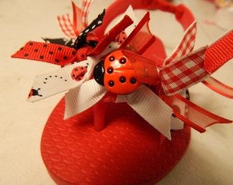 LADYBUG Flip Flops Size 5 TODDLER----SALE---ready to ship