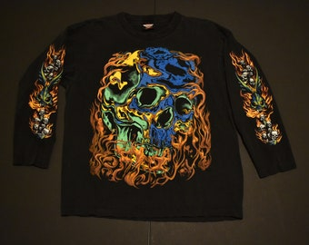 rad vintage rock eagle skull t shirt size large