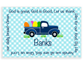 Personalized Easter Placemat-Personalized Placemat-kids placemat-kitchen placemat-monogram-boy placemat-laminate placemat-old truck-boy gift
