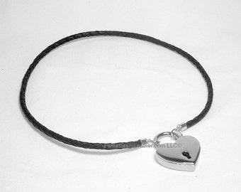 Subtle Braided Black Leather Collar With Padlock - Small/Medium  (COL 128)